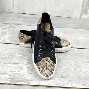 Restricted Wmns 8 Python & Black Lace Up Sneakers